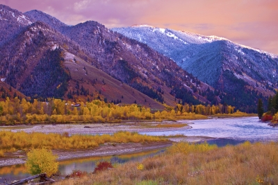 Wyoming, Jackson, Fall Colors, Sunset