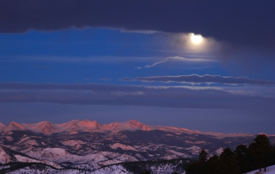 Moonset And Alpenglow, Continental Divide