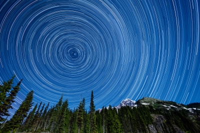 Star Trails Above Mount Rainier