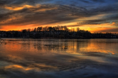 Evening Colors Warming The Frozen Lake