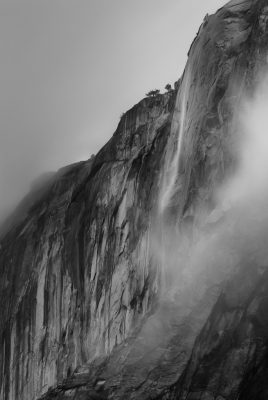 Horsetail Fall In Clouds
