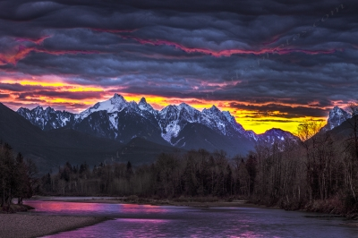 Dramatic Skykomish River Sunrise