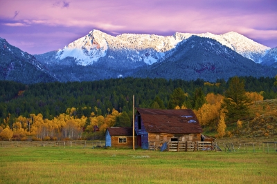 Idaho, Alpine Junction, Fall Colors, Sunset