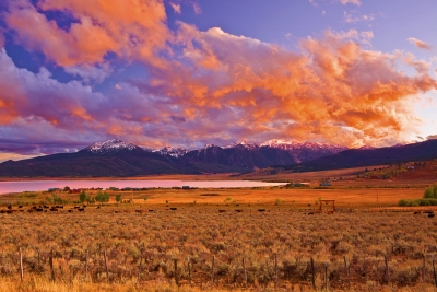 Idaho, Henry's Lake, Sunset, I爱达荷,  日落,风景