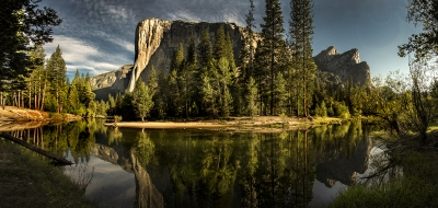 El Capitan & Three Brothers – Merced Reflection