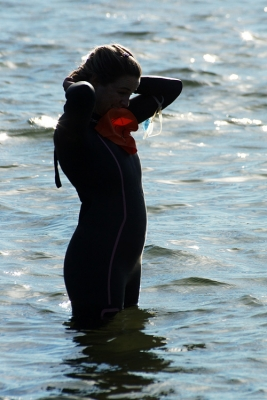 Swimmer In Lake For Competition