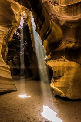 Pair Of Light Beams In Slot Canyon