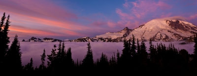 Sunrise Above The Clouds At Sunrise, Mount Rainier National Park