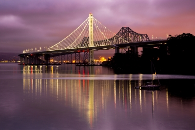 New San Francisco Bay Bridge At Sunrise