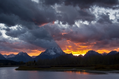 Sunset At The Oxbow:  Grand Teton National Park