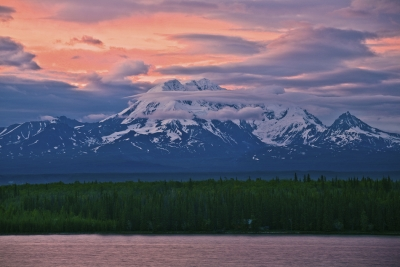 Midnight Sunset Alaska,  Wrangell-st Elias National Park-distan Viewt
