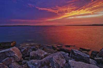 Stormy Sunset Over Grapevine Lake, Near Dallas
