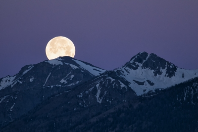 Super Moon Setting Behind The Tetons