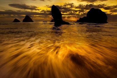 Sunset Sky Over Seal Rock Oregon