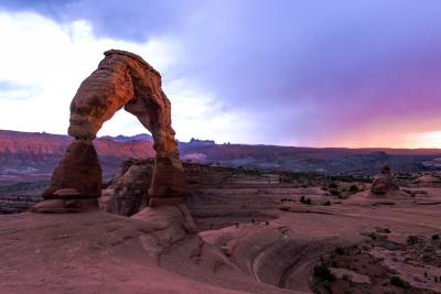 A Pastel Sunset Over Arches National Park
