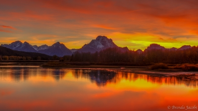 Fiery Sunset On The Grand Tetons