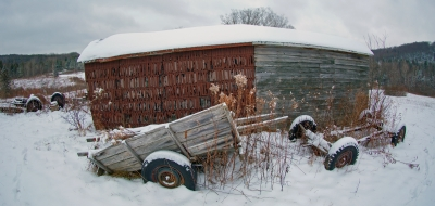 Old Barn And Old Man Winter
