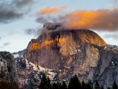 Half Dome Sunset From Cook's Meadow