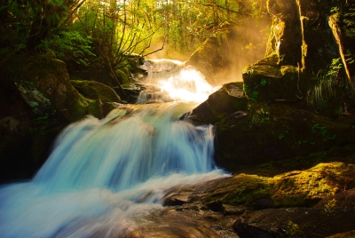 Waterfall Sunset Light