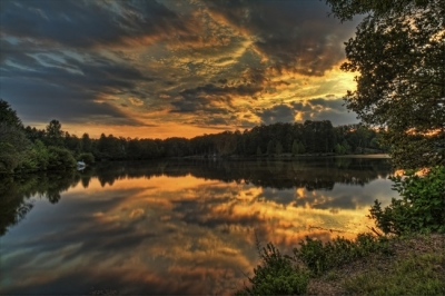 Violent Burst Of Sunset Color And Reflections