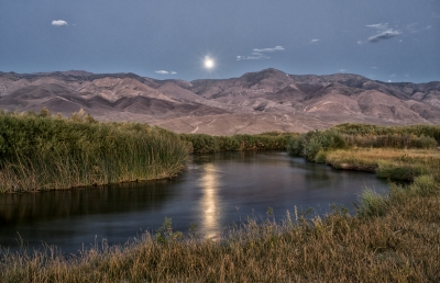 Moonrise At Lower Owens River