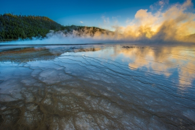 Sunset At Midway Geyser Basin