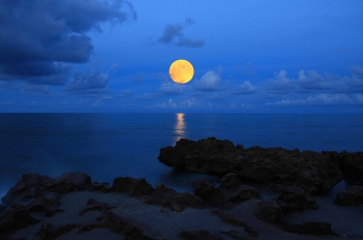 Harvest Moon Over Blowing Rocks