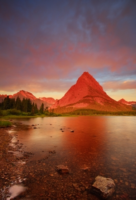 Dawn Fire Over Swiftcurrent Lake