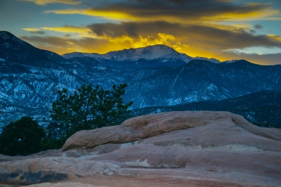 March Sunset Over Pikes Peak