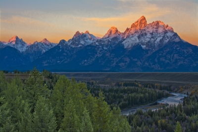 Alpenglow On The Grand Tetons At Sunrise