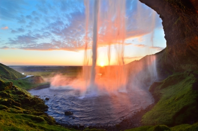 Sunset Curtain Call At Seljalandsfoss