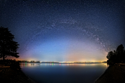 Milky Way Over Seattle Downtown