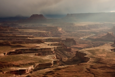 Sunset In Canyonlands On A Stormy Day