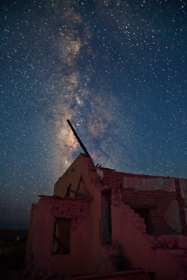 Scale Of Distance And Time, Texas, Ghost Town, Ruins, Terlingua, Milky Way, Galaxy