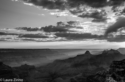 Cape Royal Sunset In B&w
