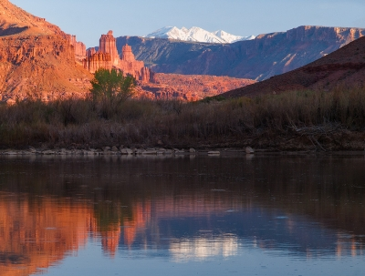 Fisher Towers Reflection In Colorado River