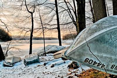 Winter Boat, Snow, Reservoir, Sunrise