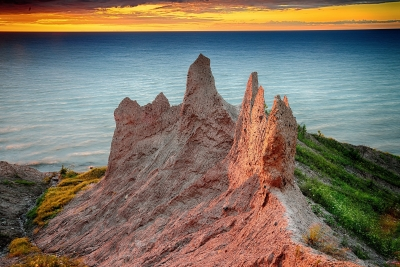 Last Light On Chimney Bluffs