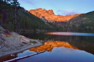 Sunrise On The Sierra Buttes Reflected In Sardine Lake