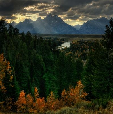 Ansel Adams Snake River Overlook Dramatic Sky