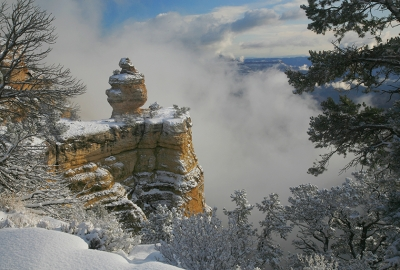 Low Clouds And Snow On The South Rim
