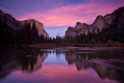 Yosemite Valley View In Pink