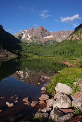 Maroon Bells And Lake
