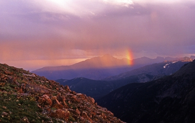 Passing Rainbow Over Long's Peak