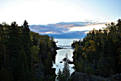 Baptism River Flowing Into Lake Superior