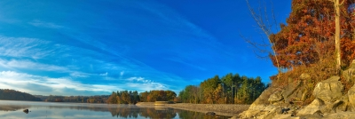 Fall, Dam, Reservoir, Trees, Sky, Rocks, Hdr, Panorama