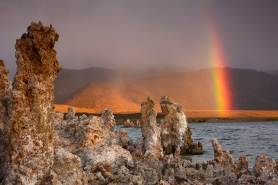 Mono Lake At Sunrise With Rainbow