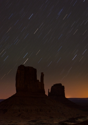 Star Trails Over The Mittens, Monument Valley, Az
