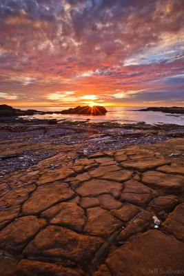 Cracked Rock Ocean Sunset
