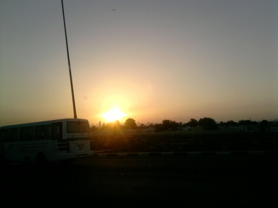 Sunset On The Road To Jabel Hafeef Mountains